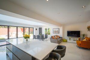 kitchen interior with bi-folding doors
