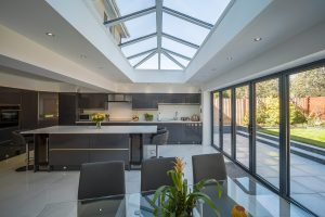 kitchen with sunroof and bi-folding doors